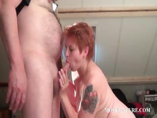 lustful older gives tit and blowjob