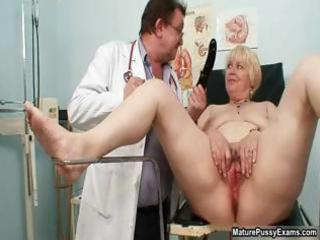 blond grandma receives her wet crack examed part2