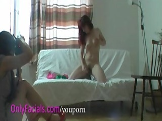 non-professional redhead milf receives facial