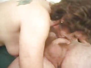 skanky old prostitute picked up and fucked by two