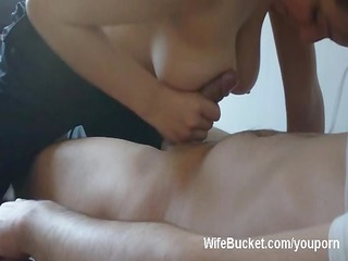 breasty wife titjob