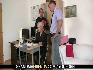 co-owners team fuck hot older lady