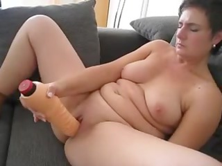 older playing with big sex-toy