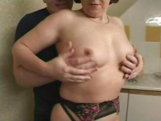 brunette hair british granny is getting fingered