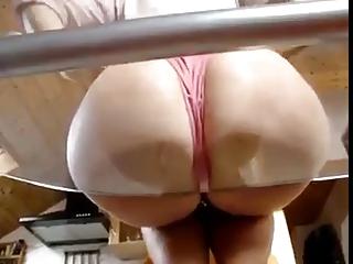sexy milf booty on glass