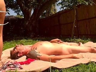 wife sunbathes while fucking