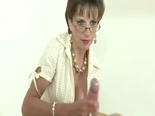 femdom stocking brit sonia handjob and ejaculation