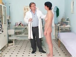 slim milf weird muff fingering by gyno doctor