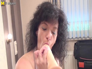 non-professional old mother getting willing with