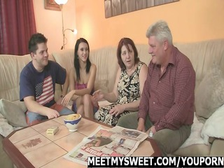encounter her bf parents ends up trio fuckfest
