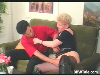 plump blonde milf in lengthy leather boots