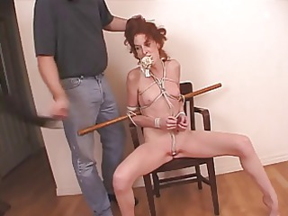 redhead milf tied with rope and her undies pushed