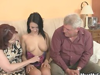 wicked hotty fucking with her bfs old parents