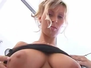 sexy older lady with large marangos takes a shower