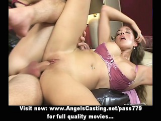 cute brunette screwed hard from behind and having