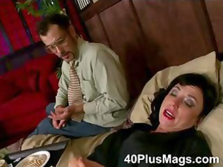 divorced aged floozy in for three-some