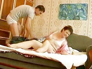 youthful hunk bangs older fat momma in bedroom