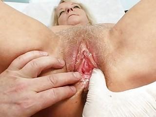 granny blonde dorota gets her shaggy muff gyno