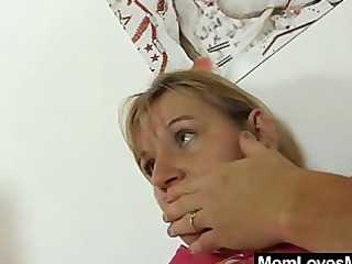 mammas tantalise thong on fake cock
