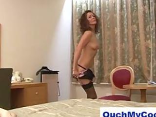 lewd mature lady gives cheeky boy a harsh tugjob