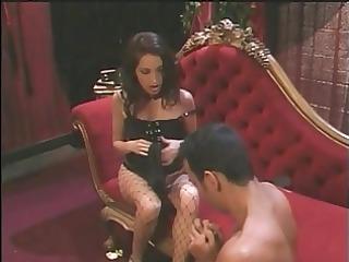 hot brunette mistress foot copulates guy&s