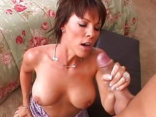 breathtaking breasty brunette milf getting her