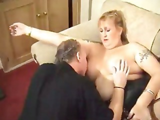 older blonde bbw gets pictures taken and blows