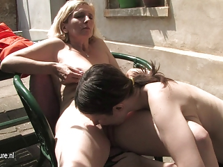 young hairy lesbian daughter bonks a aged pussy