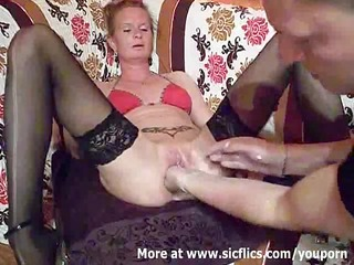 fist fucking the wifes huge cunt till she is