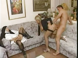 granny shows a juvenile nun how to fuck