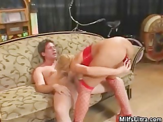 blonde milf in underware plays with her guy