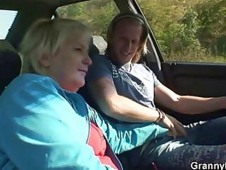 car driver bangs old bitch