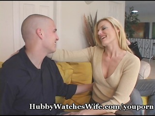 hubby watches wife fuck youthful fellow