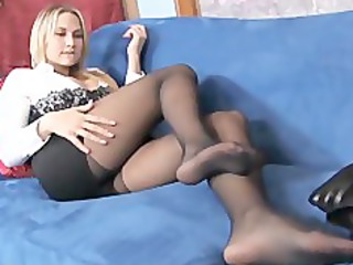 breasty blond mother i teases in sheer darksome