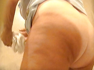 voyeur granny mature curly vagina white panty