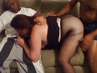 aged dilettante bbw in interracial threesome 1