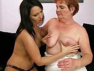 chubby granny enjoys lesbian sex with legal age