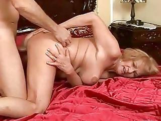 breasty grandma enjoying hard sex