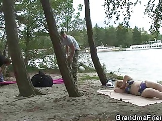 old bitch takes large dicks near the river