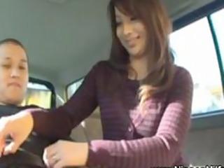 japanese mother i gives tugjob on backseat of car