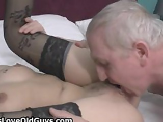 lascivious grey old chap loves licking a taut