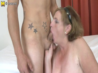 old granny fucking and sucking young knob
