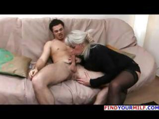 mature golden-haired russian elena blows his cock