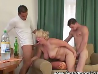 sexy and excited granny three-some