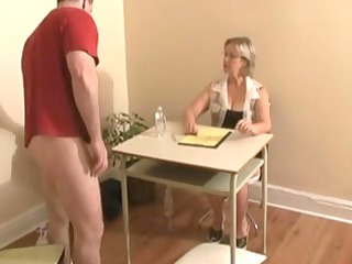 tugjob ends with cumshot by large tittied