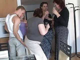 four horny mamas tempted cute chap to coll group
