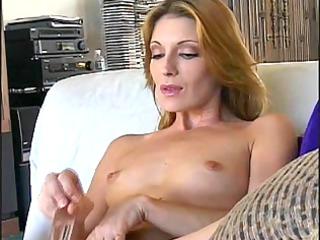 glamorous older cougar masturbates with vibrator