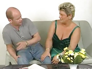 obese older housewife squirms