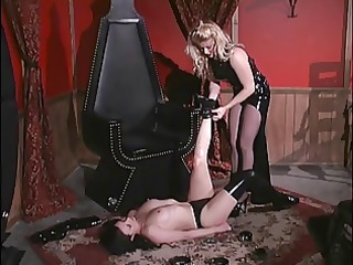 golden-haired bitch goddess locks her bondman in
