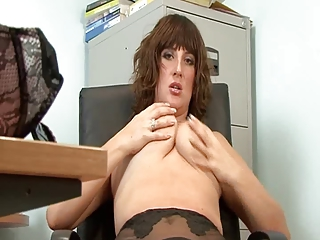 hot older secretary full fashion stockings